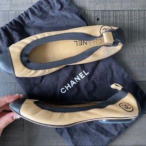 Chanel Cap Toe Ballet Flats 37.5